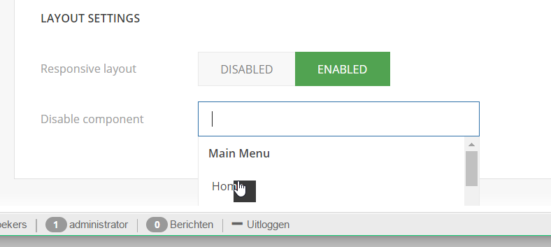 homepage disablecomponent